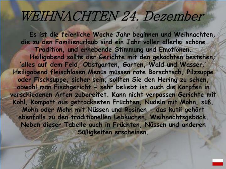 WEIHNACHTEN 24. Dezember