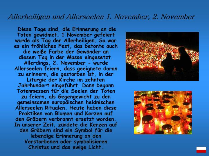 Allerheiligen und Allerseelen 1. November, 2. November