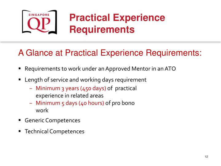A Glance at Practical Experience Requirements: