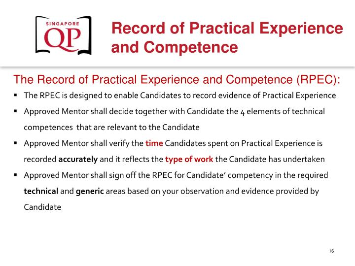 The Record of Practical Experience and Competence (RPEC):