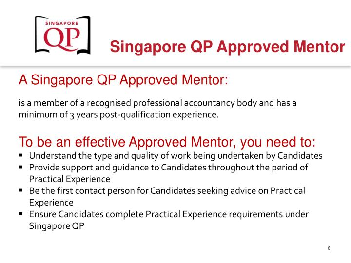 A Singapore QP Approved Mentor:
