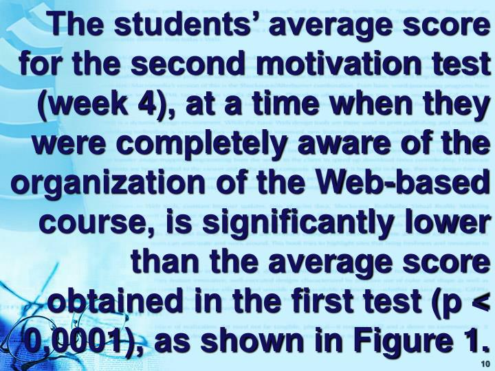 The students' average score for the second motivation test (week 4), at a time when they were completely aware of the organization of the Web-based course, is significantly lower than the average score obtained in the first test (p < 0,0001), as shown in Figure 1.