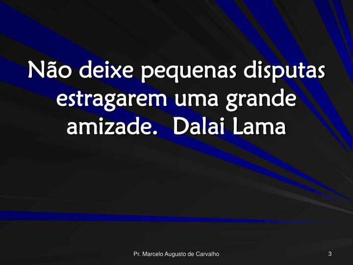 Não deixe pequenas disputas estragarem uma grande amizade.Dalai Lama