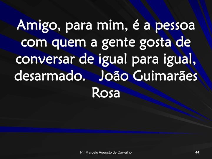 Amigo, para mim, é a pessoa com quem a gente gosta de conversar de igual para igual, desarmado. João Guimarães Rosa