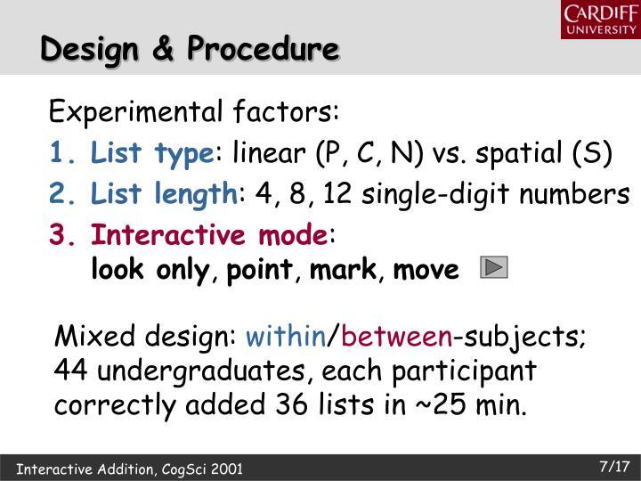 Experimental factors: