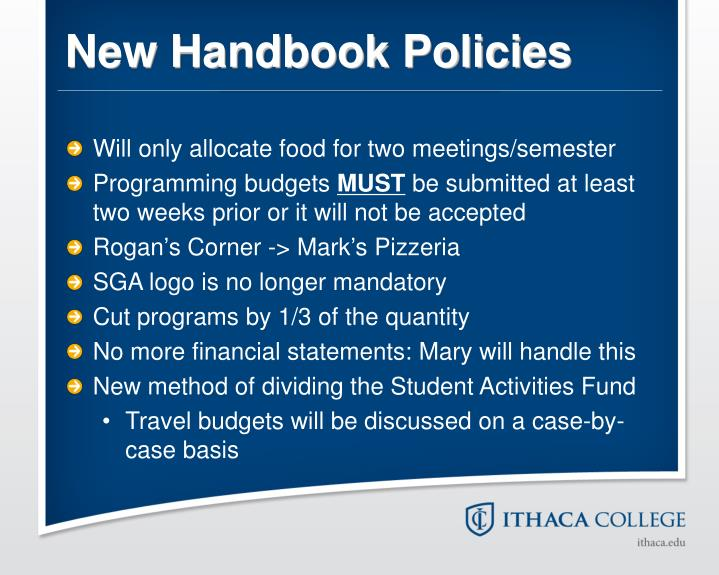 New Handbook Policies