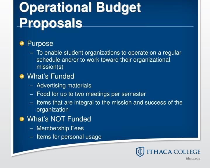Operational Budget Proposals