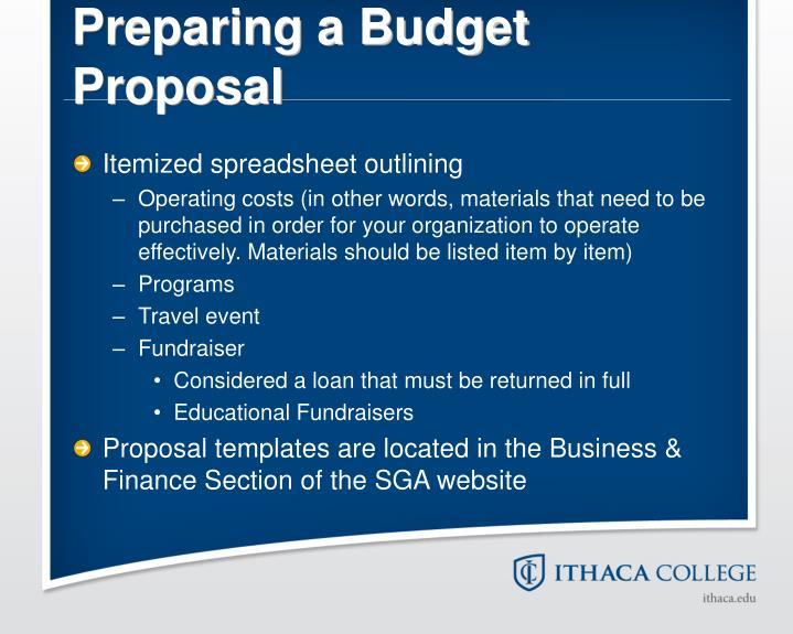 Preparing a Budget Proposal