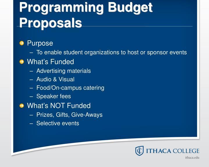 Programming Budget Proposals