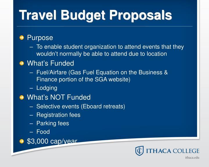 Travel Budget Proposals