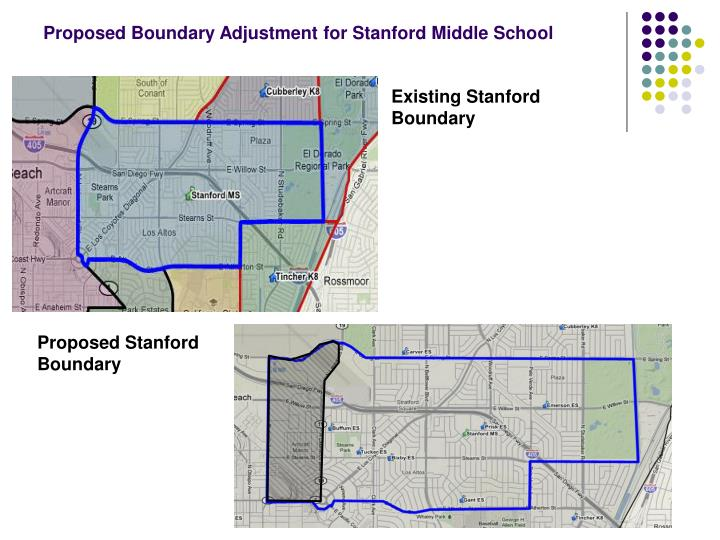 Proposed Boundary Adjustment for Stanford Middle School