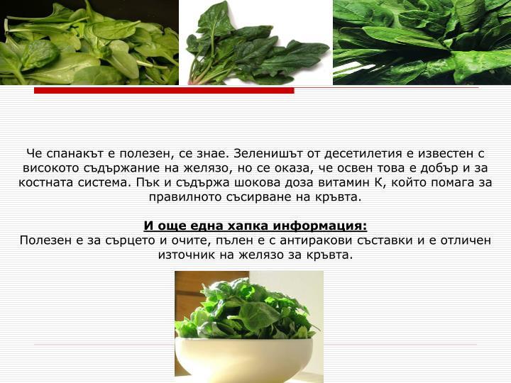 Че спанакът е полезен, се знае. Зеленишът от десетилетия е известен с високото съдържание на желязо, но се оказа, че освен това е добър и за костната система. Пък и съдържа шокова доза витамин К, който помага за правилното съсирване на кръвта.