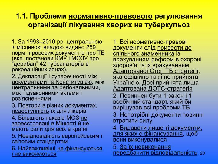 """1. За 1993–2010 рр. центральною + місцевою владою видано 259 норм.-правових документів про ТБ (вкл. постанови КМУ і МОЗУ про """"дерибан"""" 42 тубсанаторіїв в рекреаційних зонах)."""