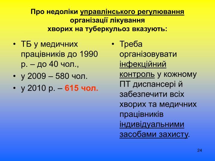ТБ у медичних працівників до 1990 р. – до 40 чол.,