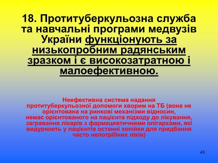 18. Протитуберкульозна служба та навчальні програми медвузів України