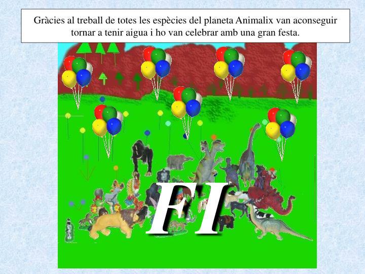 Gràcies al treball de totes les espècies del planeta Animalix van aconseguir tornar a tenir aigua i ho van celebrar amb una gran festa.