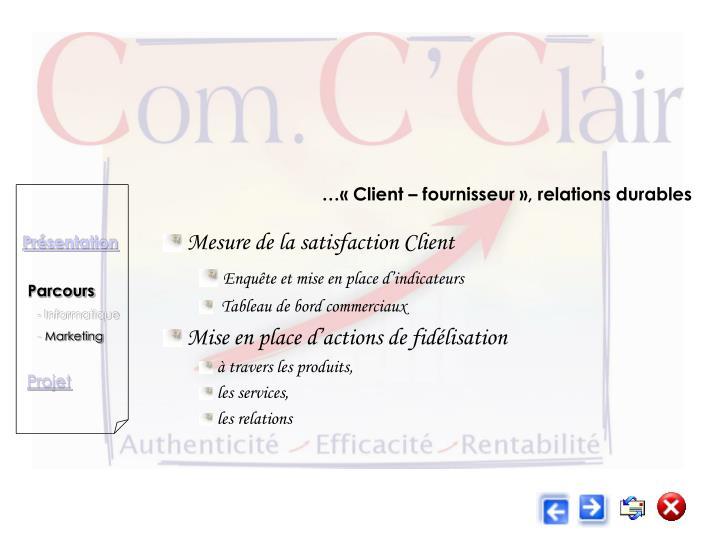 …« Client – fournisseur », relations durables
