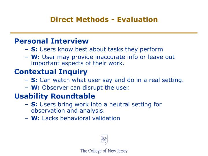 Direct Methods - Evaluation