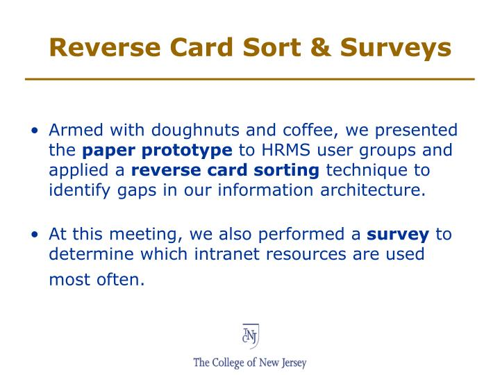 Reverse Card Sort & Surveys