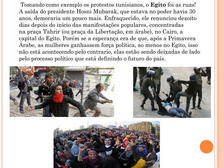 Tomando como exemplo os protestos tunisianos, o
