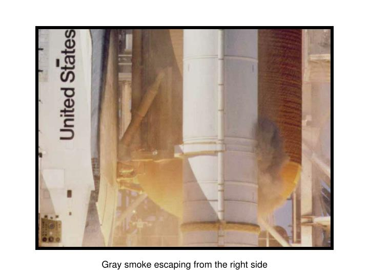 Gray smoke escaping from the right side