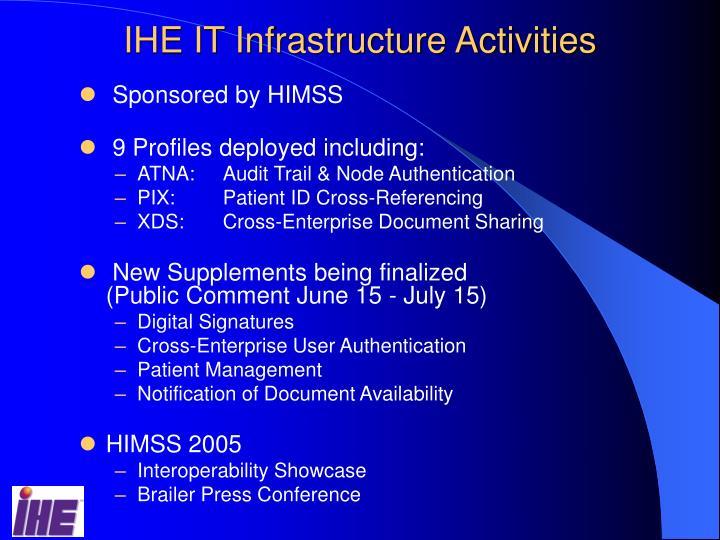 IHE IT Infrastructure Activities
