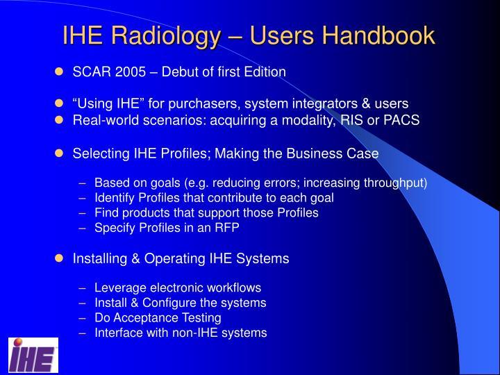 IHE Radiology – Users Handbook
