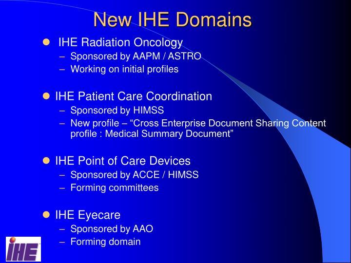 New IHE Domains