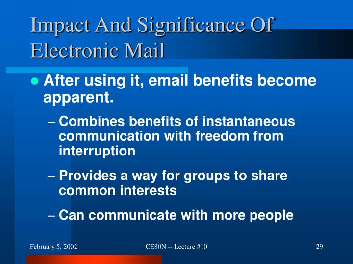 Impact And Significance Of Electronic Mail