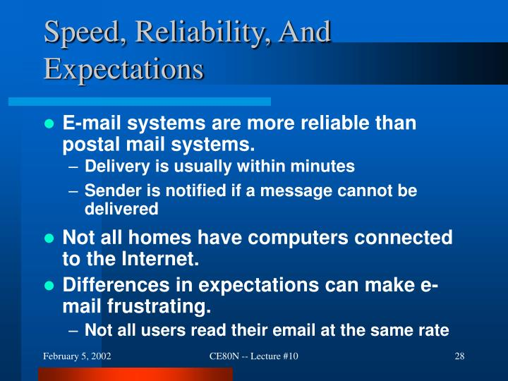 Speed, Reliability, And Expectations