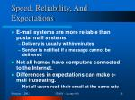 speed reliability and expectations