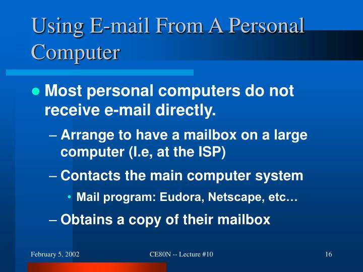 Using E-mail From A Personal Computer