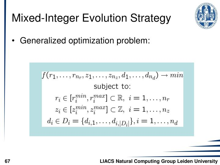Mixed-Integer Evolution Strategy