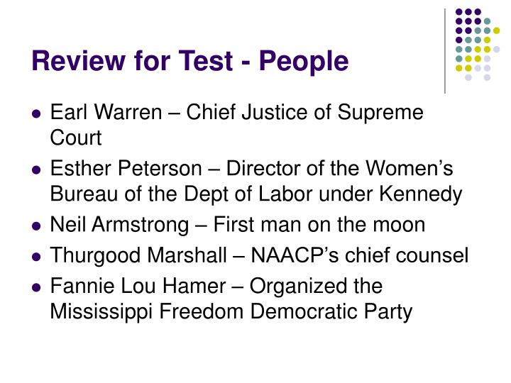 Review for Test - People