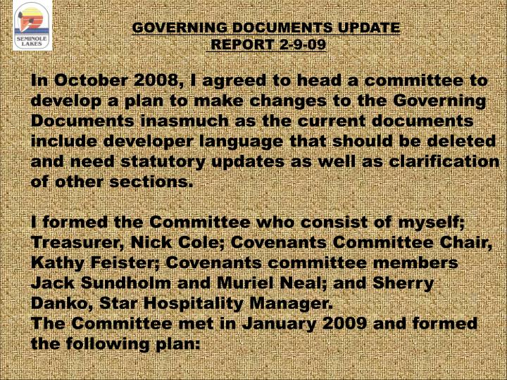 GOVERNING DOCUMENTS UPDATE