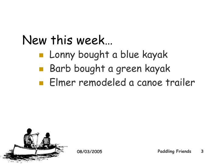 New this week…