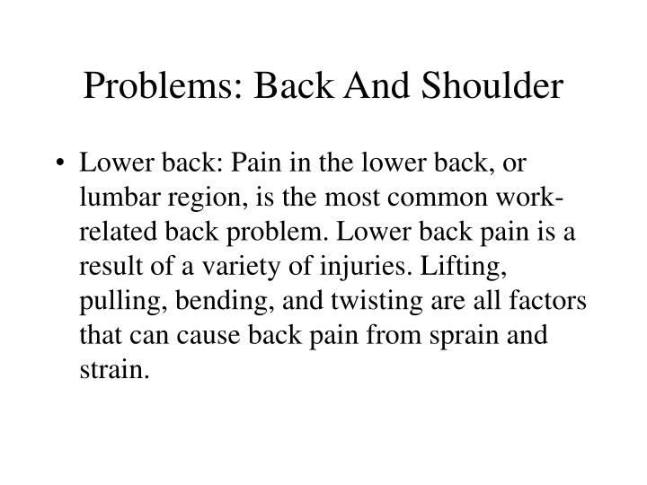 Problems: Back And Shoulder