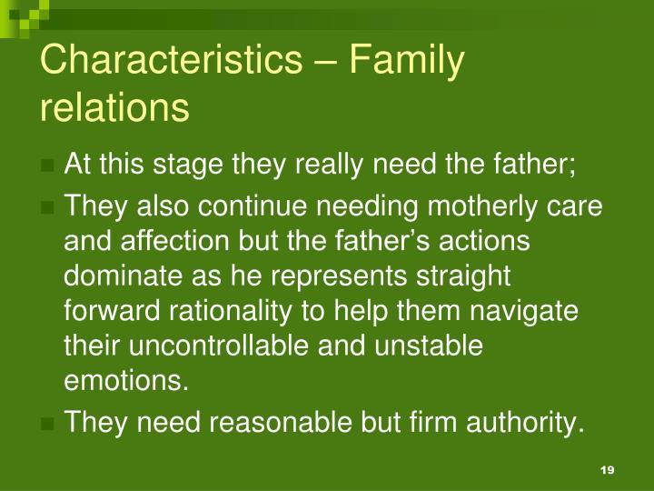 Characteristics – Family relations