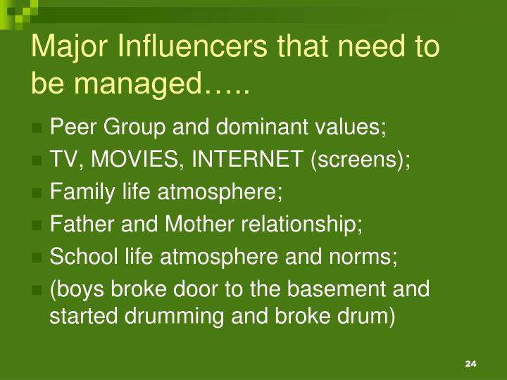 Major Influencers that need to be managed…..
