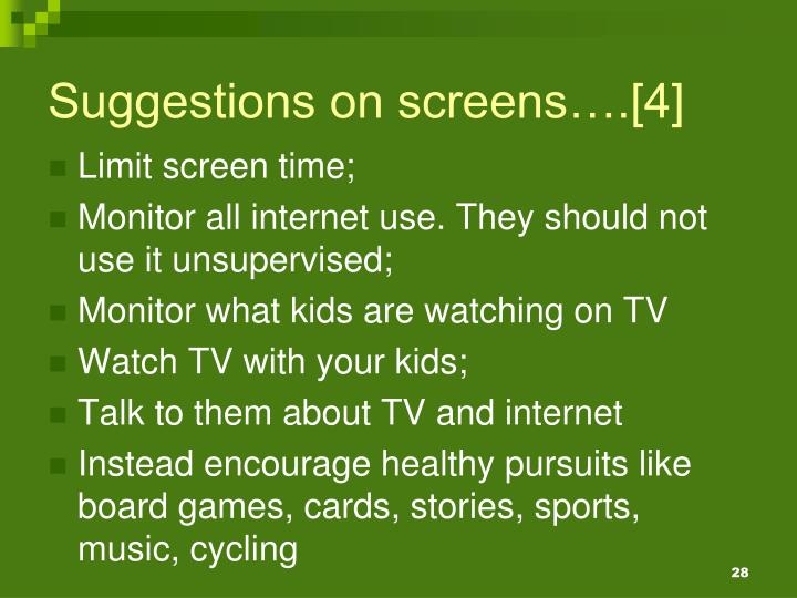 Suggestions on screens….[4]