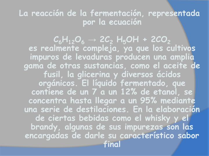 La reacción de la fermentación, representada por la ecuación