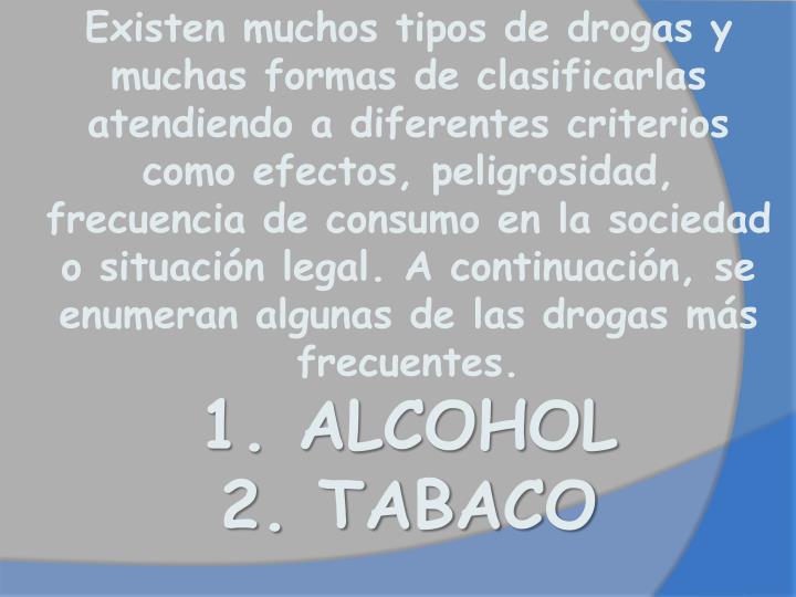 Existenmuchostiposde drogas y muchas formas de clasificarlas atendiendo a diferentes criterios como efectos, peligrosidad, frecuencia de consumo en la sociedad o situación legal. A continuación, se enumeran algunas de las drogas más frecuentes.