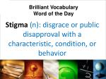 stigma n disgrace or public disapproval with a characteristic condition or behavior