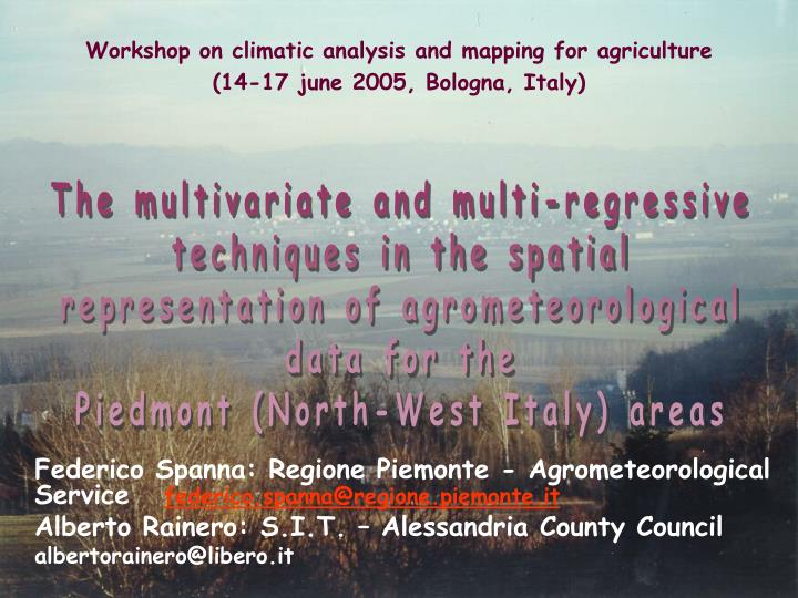 Workshop on climatic analysis and mapping for agriculture