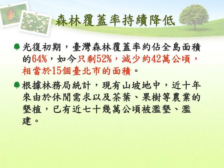 森林覆蓋率持續降低