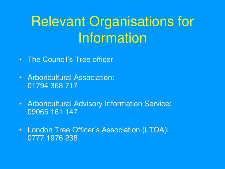 Relevant Organisations for Information