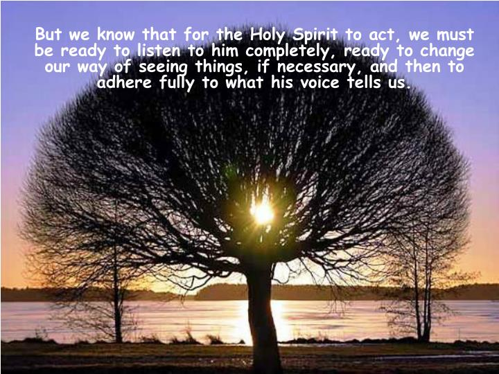 But we know that for the Holy Spirit to act, we must be ready to listen to him completely, ready to change our way of seeing things, if necessary, and then to adhere fully to what his voice tells us.