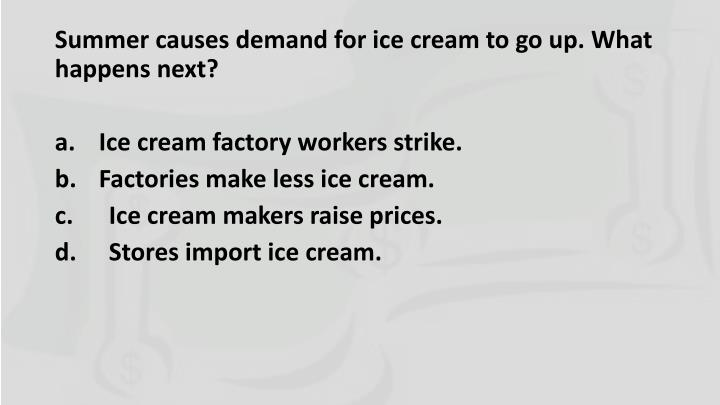 Summer causes demand for ice cream to go up. What happens next?