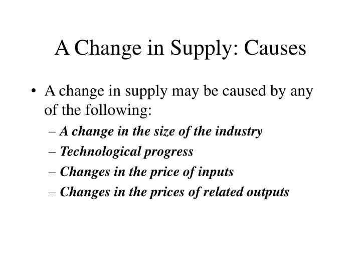 A Change in Supply: Causes