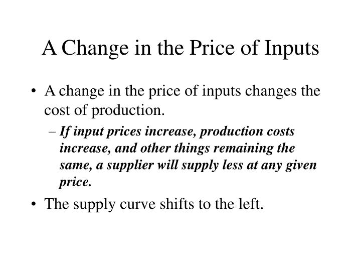 A Change in the Price of Inputs